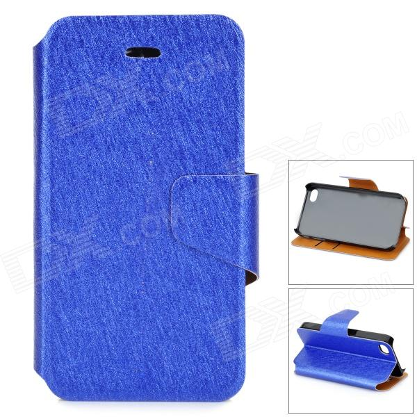 Silk Print Pattern Protective Flip-open PU + Plastic Case for IPHONE 4 / 4S - Blue silk style protective pu leather plastic case for iphone 4 4s deep pink