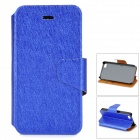 Silk Print Pattern Protective Flip-open PU + Plastic Case for IPHONE 4 / 4S - Blue