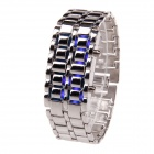 833 Stylish 8-LED Blue Light Digit Stainless Steel Bracelet Wrist Watch - Silver + Blue (1 x CR2016)