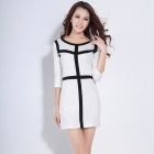 2014 New Spring Medium-Sleeve Striped Fashion Slim Dress - White + Black (Size M)