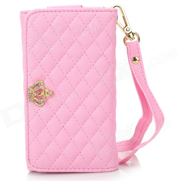 Universal Wallet Style PU Protective Case w/ Card Slots / Strap for IPHONE 5 / 4 / 4S / 3GS - Pink mercury goospery milano diary wallet leather mobile case for iphone 7 plus 5 5 grey