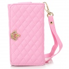 Universal Wallet Style PU Protective Case w/ Card Slots / Strap for IPHONE 5 / 4 / 4S / 3GS - Pink