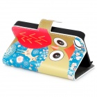 Cute Owl Pattern Flip-open PU Leather Case w/ Holder + Card Slot for IPHONE 4 / 4S - Red + Blue