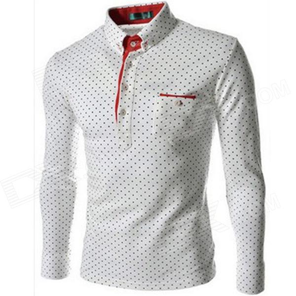 Dot Pattern Men's Long-Sleeve Slim Shirt - White + Red (Size L)