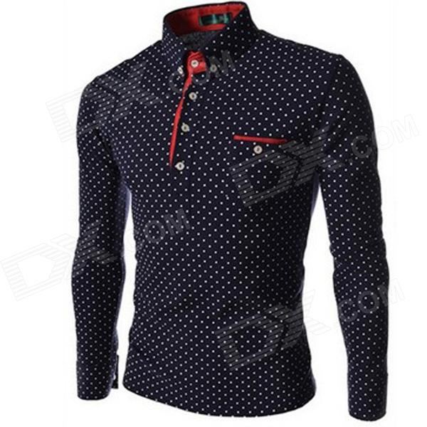 Dot Pattern Men's Long Sleeve Slim Shirt - Navy (Size L)