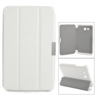 Three Fold Protective PU Leather + PC Flip Open Case w/ Stand for Samsung Galaxy Tab3 Lite 7 - White