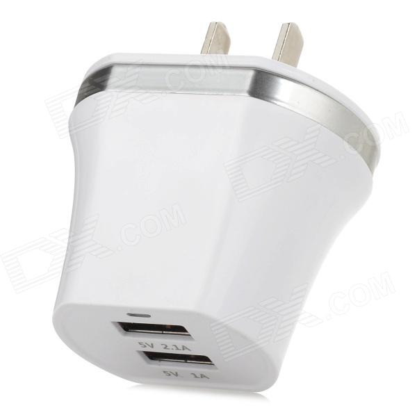 Dual-USB AC Power Charger Adapter - White (US Plug / 100~240V) dual usb power adapter charger for iphone 5 more white 2 flat pin plug 100 240v