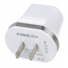 Adaptador de cargador de corriente alterna dual-USB - Blanco (US Plugs / 100 ~ 240V)