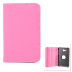 360 Degree Rotational PU Case w/ Stand / Stylus Pen for Samsung Galaxy Tab 3 Lite T110 - Deep Pink