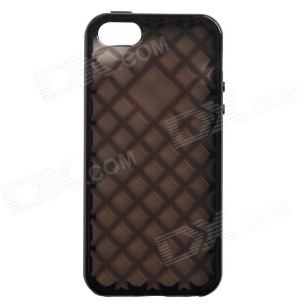 Diamond Check Style Protective TPU Back Case for IPHONE 5 / 5S - Translucent Black