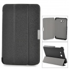 Three Fold Protective PU Leather + PC Flip Open Case w/ Stand for Samsung Galaxy Tab3 Lite 7 - Black