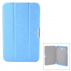 Three Fold Protective PU Leather + PC Flip Open Case w/ Stand for Samsung Galaxy Tab3 Lite 7 - Blue