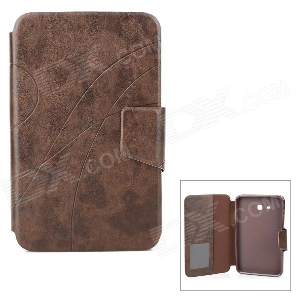 Stylish PU Flip-Open Case w/ Card Slots / Stand for Samsung Galaxy Tab 3 Lite T110 /  T111 - Brown protective flip open pu case w stand card slots for samsung galaxy s3 mini i8190