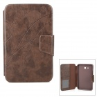 Stylish PU Flip-Open Case w/ Card Slots / Stand for Samsung Galaxy Tab 3 Lite T110 /  T111 - Brown