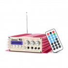 TL-308A Multi-Function 2 x 200W Amplifier w/ FM / USB / SD / Remote Controller - Deep Pink