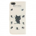 Kinston Cute Little Kitty Pattern PU Full Body Case for IPHONE 5 / 5S - Black + White