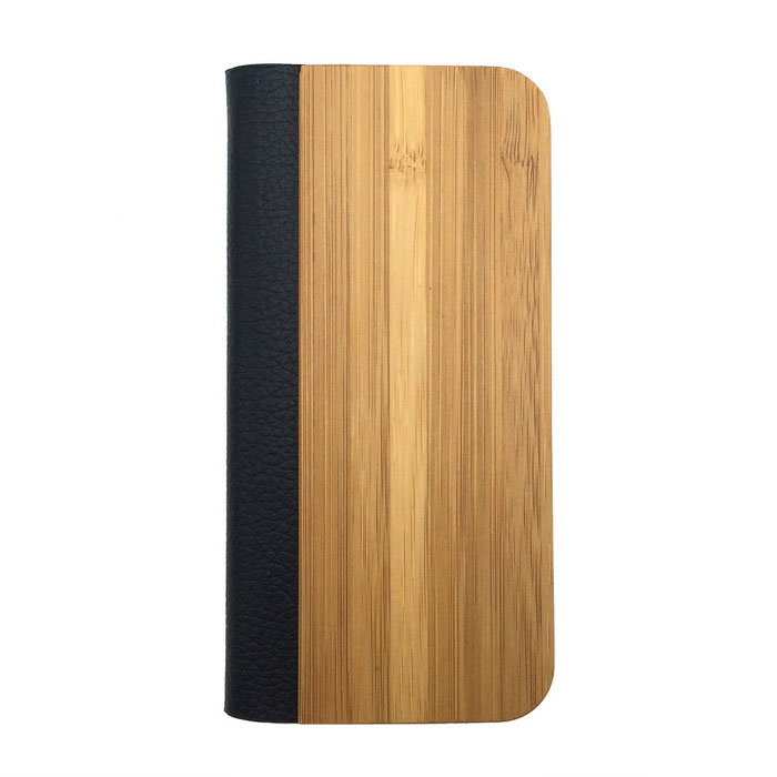 Protective PU Leather + PC + Bamboo Case for IPHONE 5 / 5S - Wooden + Black