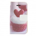 Cake Heart Pattern PU Leather Full Body Case for IPHONE 4 / 4S - Pink + White