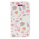 Colorful Painting PU Leather Full Body Case for IPHONE 4 / 4S - White + Pink