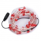 Heart Shaped 4W 100-SMD 0603 LED Red Decoration Light String - Silver + Red + Black (DC 12V / 10m)