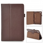 Flip-open Litchi Pattern PU Leather Case w/ Holder for Samsung T320 - Deep Brown