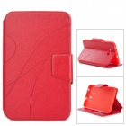 Stylish PU Flip-Open Case w/ Card Slots / Stand for Samsung Galaxy Tab 3 Lite T110 /  T111 - Red