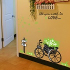 Flowers in Utility Cart Bedroom Removable Wall Sticker - Multicolored