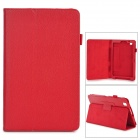 Flip-open Litchi Pattern PU Leather Case w/ Holder for Samsung T320 - Red