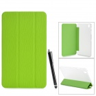 Protective PU Case w/ Stand for 8.4'' Samsung Galaxy Tab Pro T320 / 321 - Green + Transparent