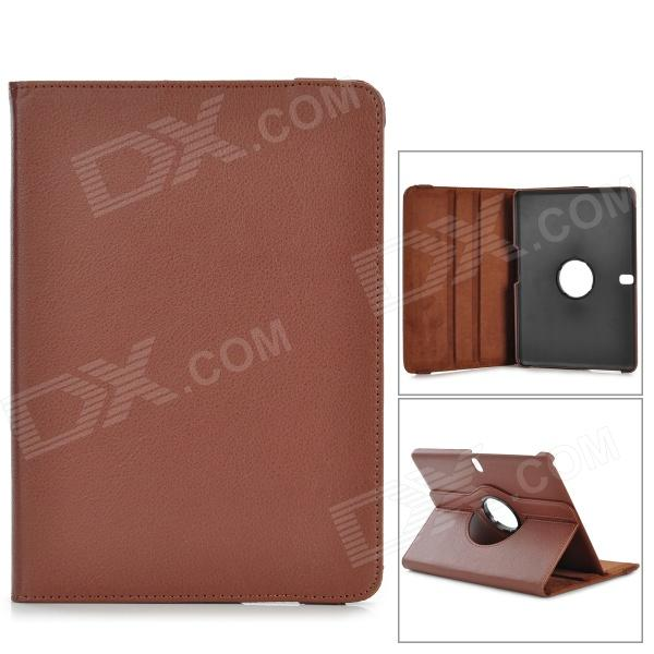 Lychee Pattern Protective PU + PC Case w/ Stand for Samsung Galaxy Tab Pro 10.1 / T520 - Brown lychee pattern protective pu case w stand for samsung galaxy tab 3 10 1 p5200 white