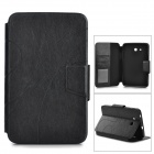 Stylish PU Flip-Open Case w/ Card Slots / Stand for Samsung Galaxy Tab 3 Lite T110 /  T111 - Black