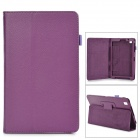 Flip-open Litchi Pattern PU Leather Case w/ Holder for Samsung T320 - Purple