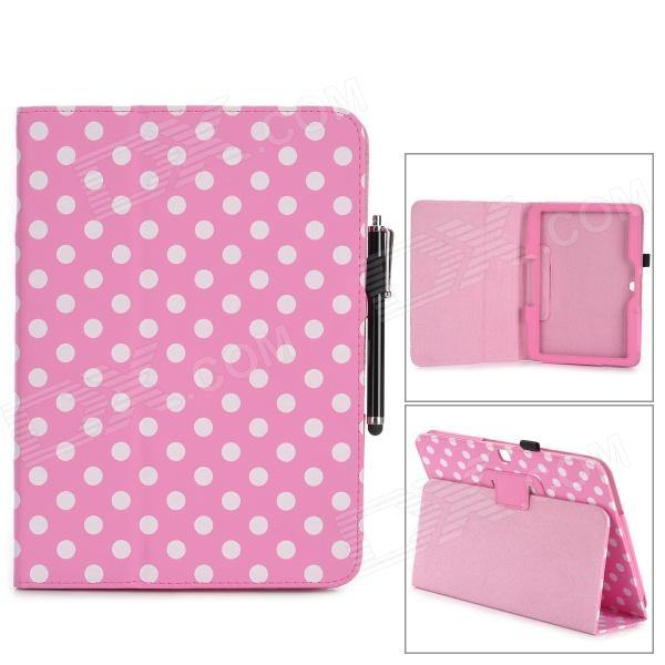 Polka Dot Pattern PU Case w/ Stand + Stylus Pen Set for Samsung Galaxy Tab 3 P5200 - Pink + White lychee pattern protective pu case w stand for samsung galaxy tab 3 10 1 p5200 white
