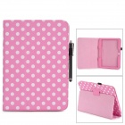 Polka Dot Pattern PU Case w/ Stand + Stylus Pen Set for Samsung Galaxy Tab 3 P5200 - Pink + White