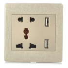 EU + US + UK + Dual-USB AC Power Socket Panel - White + Light Golden (AC 250V)