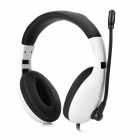 KEENION KDM-1003 3.5mm Wired Stereo Headphones w/ Microphone for Computer - White + Black