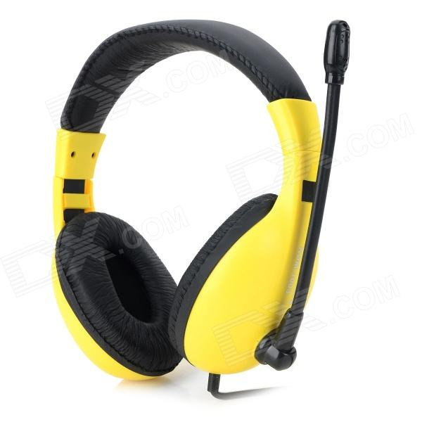 KEENION KDM-1003 3.5mm Wired Stereo Headphones w/ Microphone for Computer - Yellow + Black keenion kdm 311a 3 5mm wired stereo game headset w microphone black