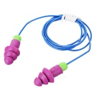 Soft Silicone Anti-noise Earplug with Cable and Case - Purple