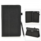 Protective Flip-open PU Leather Case w/ Stylus for Samsung Galaxy Tab Pro 8.4 T320 - Brown
