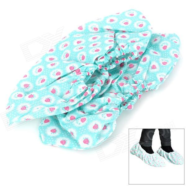 Breathable Anti-slip Red Dots Non-woven Fabrics Shoes Cover - Light Blue (2 PCS)