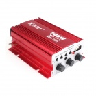 Kinrener MA700 12V 500W 2-Channel Bass / Treble Car Amplifier HiFi w/ USB FM MP3 - Red