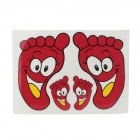 Foot Print Style Decoration Sticker for Car - Red + White + Yellow