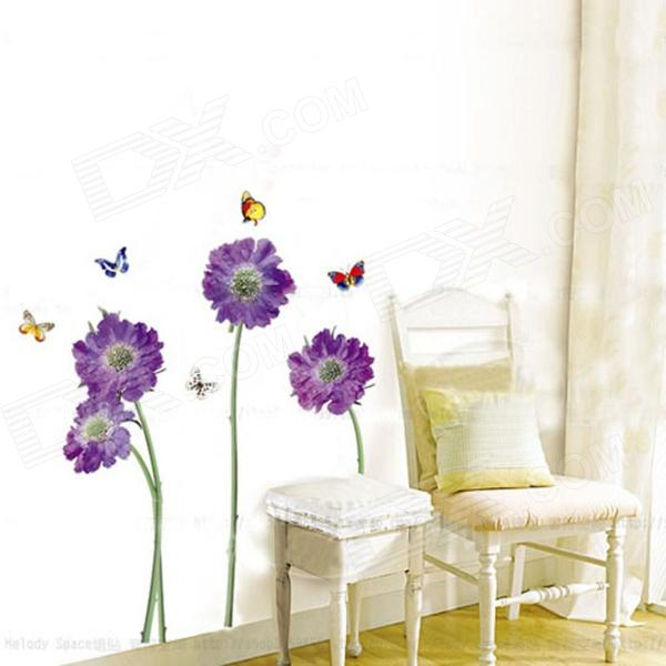 Colorful Butterflies over Flowers Enviromental Wall Sticker - Multicolored