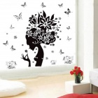 Flowers Elf of Bedroom / Livingroom Removable Wall Sticker - Black