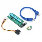 Universal USB PCI-E 1X to 6X Graphic Card w/ USB Extending Cable - Green + Blue