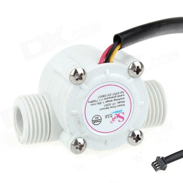 YF-S201 1-30L/min Water Flow Sensor - White 20 6mm impeller water flow sensor fluid flowmeter switch counter 1 30l min meter