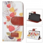 Retro Style Protective Flip Open PU Leather + Plastic Case w/ Card Slots / Stand for IPHONE 4 / 4S
