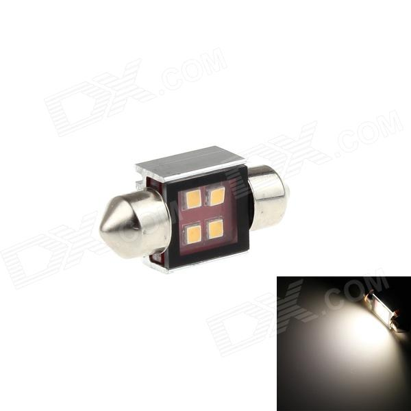 HJ-Festoon 31mm 4W 230lm 4-SMD 2323 LED Warm White Car Reading / Dome Lamps (10~15V / 2 PCS)