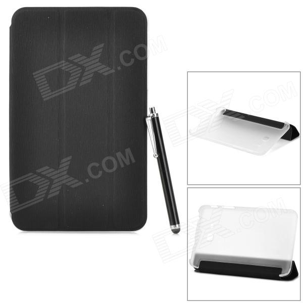 Protective PU Case w/ Stand + Screen Protector for Samsung Galaxy Tab 3 Lite T110 / T111 - Black