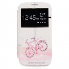 NEW JOBS Stylish Bike Pattern Diamond-studded PU Leather Case for Samsung i9300 - White + Pink